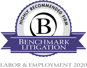 Labor and Employment Highly Recommended Law Firm 2020 Badge